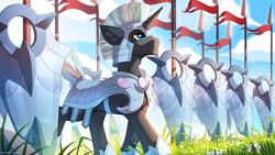 Size: 3000x1687 | Tagged: safe, artist:redchetgreen, oc, oc only, oc:valorheart, pony, unicorn, armor, crystal guard, crystal guard armor, flag, guard, looking forward, male, shield, smiling, solo, spear, stallion, weapon
