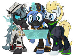 Size: 2888x2160 | Tagged: safe, artist:djdavid98, artist:pirill, derpibooru exclusive, oc, oc only, oc:carbon copy, oc:paamayim nekudotayim, oc:star farer, changeling, earth pony, pony, unicorn, 2021 community collab, derpibooru community collaboration, clothes, collaboration, cyberpunk, female, glasses, hat, horn, jacket, magic, male, mask, raised hoof, shoes, simple background, soft shading, tail, thinking, transparent background, trio, watch dogs