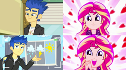 Size: 1534x860 | Tagged: safe, edit, edited screencap, screencap, flash sentry, sunset shimmer, best trends forever, eqg summertime shorts, equestria girls, equestria girls (movie), equestria girls series, pet project, female, flashimmer, male, shipping, shipping domino, straight