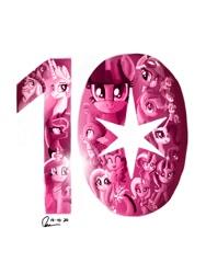 Size: 768x1024 | Tagged: safe, artist:raphaeldavid, apple bloom, applejack, fluttershy, pinkie pie, princess cadance, princess celestia, princess luna, rainbow dash, rarity, scootaloo, spike, star swirl the bearded, starlight glimmer, sweetie belle, tempest shadow, trixie, twilight sparkle, alicorn, dragon, earth pony, pegasus, pony, unicorn, mlp fim's tenth anniversary, clothes, cutie mark crusaders, goggles, looking at you, mane six, smiling, twilight sparkle (alicorn), twilight sparkle's balloon, uniform, wonderbolts uniform