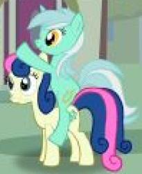 Size: 396x484 | Tagged: safe, bon bon, lyra heartstrings, sweetie drops, earth pony, pony, unicorn, female, lyra riding bon bon, lyrabon, needs more jpeg, ponies riding ponies, ride, riding, shipping
