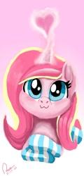 Size: 540x1125 | Tagged: safe, artist:raphaeldavid, oc, oc only, oc:rosa flame, pony, unicorn, :3, clothes, heart, smiling, socks, striped socks