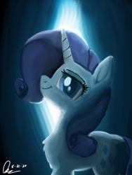 Size: 1536x2048 | Tagged: safe, artist:raphaeldavid, rarity, pony, chest fluff, looking at you, smiling, solo