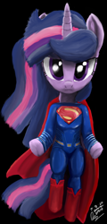 Size: 1080x2250 | Tagged: safe, artist:raphaeldavid, twilight sparkle, pony, unicorn, semi-anthro, batman v superman: dawn of justice, crossover, dc comics, dc extended universe, levitation, looking at you, magic, man of steel, solo, superman, supermare, telekinesis, unamused