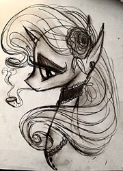Size: 921x1280 | Tagged: safe, artist:luted, rarity, pony, unicorn, bust, ear piercing, earring, flower, jewelry, monochrome, piercing, pipe, side profile, solo