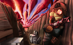 Size: 1750x1087 | Tagged: safe, artist:jamescorck, oc, oc:appleale, earth pony, pony, clothes, death korps of krieg, detailed background, detailed sky, female, gas mask, guardsmare, gun, imperial guard, krieg, laser gun, lasgun, mare, mask, royal guard, solo, trench, trenchcoat, warhammer (game), warhammer 40k, weapon