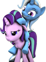 Size: 431x576 | Tagged: safe, starlight glimmer, trixie, pony, unicorn, 3d, cropped, female, floppy ears, inconvenient trixie, mare, ponies riding ponies, riding, simple background, starlight is not amused, transparent background, unamused