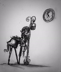 Size: 1936x2309 | Tagged: safe, artist:luted, pegasus, pony, clock, hospital gown, iv bag, monochrome, solo, traditional art