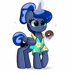 Size: 3723x3900 | Tagged: safe, artist:kittyrosie, princess luna, alicorn, between dark and dawn, alternate hairstyle, blushing, clothes, donut, food, glowing horn, horn, magic, simple background, telekinesis, white background
