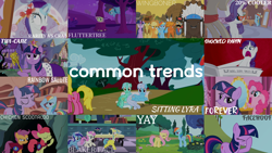 Size: 1966x1105   Tagged: safe, edit, edited screencap, editor:quoterific, screencap, apple bloom, applejack, bon bon, braeburn, cherry berry, chief thunderhooves, fluttershy, lemon hearts, linky, little strongheart, lyra heartstrings, minuette, moondancer, pinkie pie, rainbow dash, rarity, scootaloo, sheriff silverstar, shoeshine, skuttles the crab, sweetie drops, twilight sparkle, twinkleshine, alicorn, crab, earth pony, pegasus, pony, unicorn, amending fences, applebuck season, dragonshy, green isn't your color, hurricane fluttershy, over a barrel, ponyville confidential, ppov, princess twilight sparkle (episode), season 1, season 2, season 4, season 5, season 6, sonic rainboom (episode), stare master, suited for success, 20% cooler, background pony, crab fighting a giant rarity, eyes closed, facehoof, female, filly, filly moondancer, filly twilight sparkle, flaskhead hearts, fluttertree, flutteryay, forever, mane six, meme origin, open mouth, rarity fighting a giant crab, rarity fighting a regular sized crab, role reversal, scepter, scootachicken, sitting, sitting lyra, spread wings, twilight scepter, twilight sparkle (alicorn), unicorn twilight, wall of tags, wingboner, wings, yay, younger