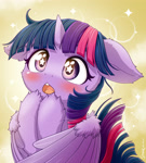 Size: 1920x2134 | Tagged: safe, artist:symbianl, twilight sparkle, alicorn, pony, abstract background, blushing, bust, cheek fluff, cute, ear fluff, floppy ears, leg fluff, open mouth, solo, starry eyes, twiabetes, twilight sparkle (alicorn), weapons-grade cute, wing fluff, wingding eyes