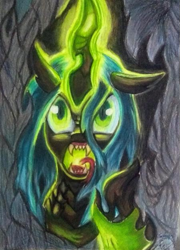Size: 449x623 | Tagged: safe, artist:shadowingartist, queen chrysalis, changeling, changeling queen, drawing, evil, female, magic, magic aura