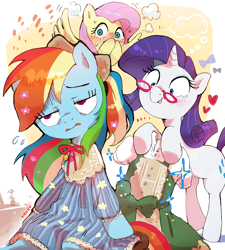 Size: 1932x2143 | Tagged: safe, artist:nendo, fluttershy, rainbow dash, rarity, pegasus, pony, unicorn, and then there's rarity, blushing, clothes, dress, dressup, glasses, heart, implied flutterdash, implied lesbian, implied shipping, makeover, rainbow dash always dresses in style, rainbow dash is not amused, rarity being rarity, rarity's glasses, sparkles, spread wings, tongue out, unamused, wingboner, wings