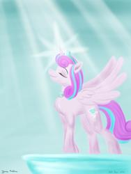 Size: 1800x2400 | Tagged: safe, artist:rockhoppr3, princess flurry heart, alicorn, pony, crown, eyes closed, jewelry, older, older flurry heart, regalia, solo, spread wings, sun ray, wings