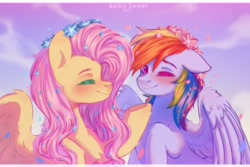 Size: 3000x2000 | Tagged: safe, artist:belkasweet, fluttershy, rainbow dash, pegasus, pony, blushing, bust, chest fluff, duo, eyes closed, female, floppy ears, floral head wreath, flower, flower in hair, heart, high res, looking at you, mare, one eye closed, profile, raised hoof, sky, sky background, smiling, spread wings, three quarter view, wings, wink, winking at you