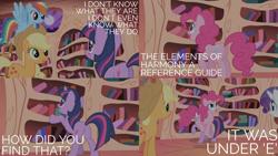 Size: 2000x1125 | Tagged: safe, edit, edited screencap, editor:quoterific, screencap, applejack, pinkie pie, rainbow dash, rarity, twilight sparkle, pegasus, pony, unicorn, friendship is magic, golden oaks library, hopping, open mouth, unicorn twilight