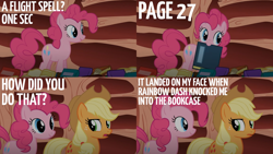 Size: 2000x1125 | Tagged: safe, edit, edited screencap, editor:quoterific, screencap, applejack, pinkie pie, earth pony, pony, sonic rainboom (episode), book, holding a book, mouth hold, open mouth