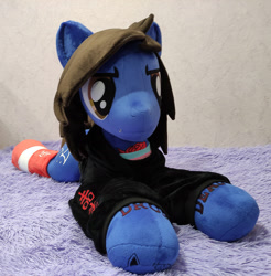 Size: 2000x2035 | Tagged: safe, artist:lanacraft, earth pony, pony, bring me the horizon, clothes, commission, drop dead clothing, equestria girls ponified, hoodie, irl, life size, lying down, male, oliver sykes, photo, plushie, ponified, prone, shirt, socks, solo, sonic the hedgehog (series), stallion, tattoo, undershirt