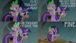 Size: 2000x1125 | Tagged: safe, edit, edited screencap, editor:quoterific, screencap, spike, twilight sparkle, dragon, pony, unicorn, a dog and pony show, season 1, bipedal, dragons riding ponies, horses doing horse things, open mouth, riding, spike riding twilight, sword, the lone ranger, twilight is not amused, unamused, unicorn twilight, weapon