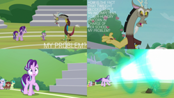 Size: 2000x1125 | Tagged: safe, edit, edited screencap, editor:quoterific, screencap, berry blend, berry bliss, citrine spark, discord, fire quacker, huckleberry, sandbar, silverstream, spike, starlight glimmer, yona, draconequus, dragon, earth pony, hippogriff, pony, unicorn, yak, a matter of principals, angry, dragon ball, eyes closed, friendship student, kamehameha, laser, open mouth, shocked, winged spike, wings
