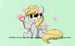 Size: 4096x2496 | Tagged: safe, artist:kittyrosie, derpy hooves, pegasus, pony, bubble, cute, derpabetes, digital art, female, mare, simple background, solo, tongue out