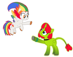 Size: 4500x3500 | Tagged: safe, artist:choisky13, oc, oc only, oc:irene iridium, oc:radiante radium, object pony, original species, pegasus, pony, radioactive pony, unicorn, base used, colored wings, duo, female, glowing, glowing body, gradient wings, high res, leonine tail, looking at each other, mare, multicolored hair, multicolored wings, ponified, radioactive, rainbow hair, rainbow tail, rainbow wings, simple background, smiling, transparent background, wings
