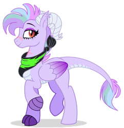 Size: 1280x1323 | Tagged: safe, artist:venomous-cookietwt, oc, dracony, dragon, hybrid, pony, base used, female, interspecies offspring, magical lesbian spawn, offspring, parent:princess ember, parent:rainbow dash, parents:emberdash, simple background, solo, transparent background