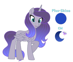 Size: 3800x3200 | Tagged: safe, artist:stellamoonshine, oc, oc:blue moon, alicorn, pony, female, magical lesbian spawn, mare, offspring, parent:fluttershy, parent:princess luna, parents:lunashy, simple background, solo, transparent background
