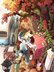 Size: 3076x4096 | Tagged: safe, artist:saxopi, derpy hooves, pegasus, pony, bicycle, car, chest fluff, clothes, cute, derpabetes, eye clipping through hair, eyebrows, eyebrows visible through hair, featured image, female, formula 1, hat, high res, jumpsuit, leaves, letter, luggage, mailbox, mailmare, mailmare hat, mailmare uniform, maple leaf, mare, mouth hold, overalls, shirt, sidewalk, smiling, solo, streetlight, sweet dreams fuel, tree, volkswagen beetle, williams