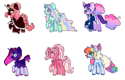 Size: 1558x998 | Tagged: safe, artist:unicorn-mutual, oc, oc only, earth pony, pegasus, pony, unicorn, bow, butt freckles, choker, cloak, clothes, colored hooves, earth pony oc, ethereal mane, female, flower, flower in hair, freckles, glasses, hair bow, horn, jacket, magical lesbian spawn, mare, next generation, no pupils, offspring, parent:applejack, parent:big macintosh, parent:fluttershy, parent:king sombra, parent:pinkie pie, parent:princess luna, parent:rainbow dash, parent:rarity, parent:tempest shadow, parent:twilight sparkle, parents:appledash, parents:flutterdash, parents:fluttermac, parents:lumbra, parents:raripie, parents:tempestlight, pegasus oc, raised hoof, shawl, simple background, socks (coat marking), spiked choker, starry mane, tail bow, tattoo, transparent background, unicorn oc, wings