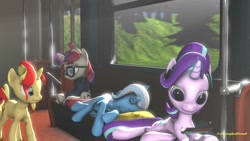 Size: 1280x720 | Tagged: safe, artist:xvclumsybusponevx, moondancer, starlight glimmer, trixie, pony, 3d, book, lying down, magic, prone
