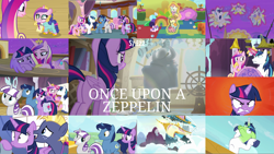 Size: 1978x1113 | Tagged: safe, edit, edited screencap, editor:quoterific, screencap, coconut palm, cranberry pit, ginger tea, grape stem, iron will, night light, princess cadance, princess flurry heart, scribble pad, shining armor, star tracker, stratus wind, twilight sparkle, twilight velvet, alicorn, pony, unicorn, once upon a zeppelin, angry, bag, butt, female, glowing horn, green face, gritted teeth, horn, magic, magic aura, mare, open mouth, plot, rage, sad, saddle bag, shocked, twibutt, twilight sparkle (alicorn)