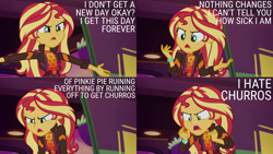Size: 2000x1125 | Tagged: safe, edit, edited screencap, editor:quoterific, screencap, sunset shimmer, human, equestria girls, equestria girls series, sunset's backstage pass!, spoiler:eqg series (season 2), angry, clothes, female, open mouth, solo