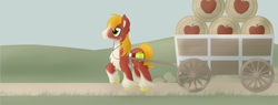 Size: 3150x1200 | Tagged: safe, artist:sixes&sevens, big macintosh, earth pony, alternate design, barrel, cart, dust, earbuds, male, outdoors, pulling, solo, solo male