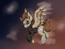 Size: 4000x3000 | Tagged: safe, artist:arume_lux, oc, oc:toffee scotch, pegasus, pony, flying, male, solo, stallion