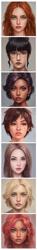 Size: 547x3707 | Tagged: safe, artist:elioo, applejack, fluttershy, pinkie pie, rainbow dash, rarity, sci-twi, sunset shimmer, twilight sparkle, human, equestria girls, bust, humane five, humane seven, humane six, portrait, realistic, simple background