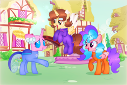 Size: 3196x2140 | Tagged: safe, artist:doraeartdreams-aspy, oc, oc:aspen, oc:bella pinksavage, oc:heartsy, alicorn, changeling, pegasus, alicorn oc, bodysuit, catsuit, clothes, female, flower, happy, hippie, horn, jewelry, latex, latex suit, necklace, peace suit, peace symbol, ponyville, rubber suit, siblings, sisters, smiling, wings