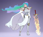 Size: 2800x2400 | Tagged: safe, alternate version, artist:scorpdk, princess celestia, human, armor, blue hair, boots, cape, clothes, digital art, female, flowing hair, full body, gray background, green hair, hand on hip, high heel boots, high heels, high res, humanized, lips, long hair, multicolored hair, pink hair, purple eyes, shoes, simple background, standing, sword, warrior, warrior celestia, weapon