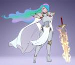 Size: 2800x2400 | Tagged: safe, alternate version, artist:scorpdk, princess celestia, human, anime, armor, digital art, female, flowing hair, humanized, sword, weapon
