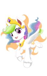 Size: 1200x1920   Tagged: safe, artist:theroyalprincesses, princess celestia, alicorn, my little pony: pony life, pony life, chibi, crown, cute, cutelestia, cutie mark background, female, jewelry, mare, regalia, simple background, solo, unshorn fetlocks