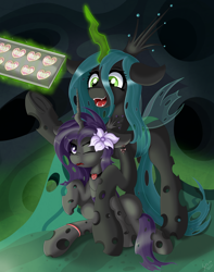 Size: 2000x2544 | Tagged: safe, artist:sethisto, queen chrysalis, oc, changeling hive, cookie, food, scrunchy face