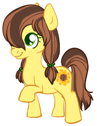 Size: 370x481 | Tagged: safe, artist:ashij, heidi hay, oc, oc:sunflower, earth pony, pony, cute, cutie mark, female, filly, flower, heidibetes, pigtails, raised hoof, simple background, smiling, sunflower, white background
