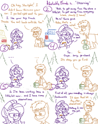 Size: 4779x6013   Tagged: safe, artist:adorkabletwilightandfriends, ice breaker, starlight glimmer, oc, oc:gray, earth pony, pony, unicorn, comic:adorkable twilight and friends, adorkable, adorkable friends, car, co-worker, comic, conversation, cute, dork, female, food, friendship, happy, lunch, lunchbox, male, mare, name tag, parking lot, pickup, sandwich, sitting, slice of life, smiling, stallion, subtle, truck, work