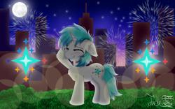 Size: 2500x1561 | Tagged: safe, artist:jadebreeze115, oc, oc only, oc:winter light, pony, unicorn, blushing, city, cityscape, cute, cutie mark, eyes closed, fireworks, gift art, grass, grass field, grin, happy, male, night, shading, smiling, solo, stallion, sunset