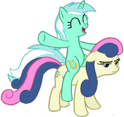 Size: 1304x1236 | Tagged: safe, bon bon, lyra heartstrings, sweetie drops, pony, bon bon is not amused, female, lyra riding bon bon, lyrabon, ponies riding ponies, riding, shipping, simple background, transparent background, unamused