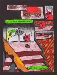 Size: 2504x3264 | Tagged: safe, artist:oatmeal155, oc, oc only, earth pony, pony, unicorn, comic:oat.meal, comic, dialogue, ever emerald manor, railing, stairs, toy, traditional art, wagon