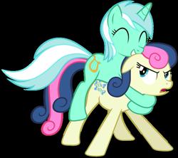 Size: 653x581 | Tagged: safe, bon bon, lyra heartstrings, sweetie drops, pony, bon bon is not sure what to think, female, lyra riding bon bon, lyrabon, ponies riding ponies, riding, shipping, simple background, transparent background