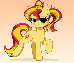 Size: 4096x3509   Tagged: safe, artist:kittyrosie, sunset shimmer, pony, unicorn, alternate hairstyle, blushing, commission, cute, female, floating heart, gradient background, heart, high res, lidded eyes, mare, pigtails, raised hoof, raised leg, shimmerbetes, solo, twintails