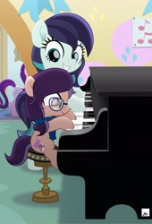 Size: 2000x2947 | Tagged: safe, artist:jhayarr23, coloratura, oc, oc:lavender adagio, earth pony, pony, female, filly, glasses, lesson, musical instrument, piano