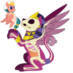 Size: 1200x1200 | Tagged: safe, artist:enigmadoodles, somnambula, sphinx (character), pony, sphinx, bone, dissectibles, organs, simple background, skeleton, transparent background